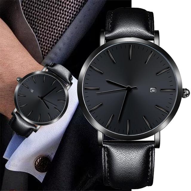 relogio masculino Watch Men Military Quartz Watch Mens Watches Top Brand Luxury Leather Sports Wristwatch Date Clock New 2019
