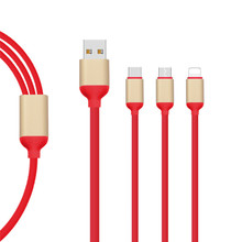 2017 Newest TPE 3 in 1 USB Data Cable Type-c Charging Data Cable for iPhone Android Letv Phone 1.2m multi-functional cable