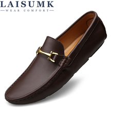 LAISUMK Fashion Men Split Leather Loafers Slip on Luxury Man Flats Casual Shoes Brown Coffee Spring Autumn Male Driving Shoes цены онлайн