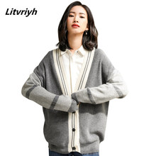 Litvriyh spring new cashmere sweater women cardigan thick V-neck bat sleeve patchwork coats female jumper