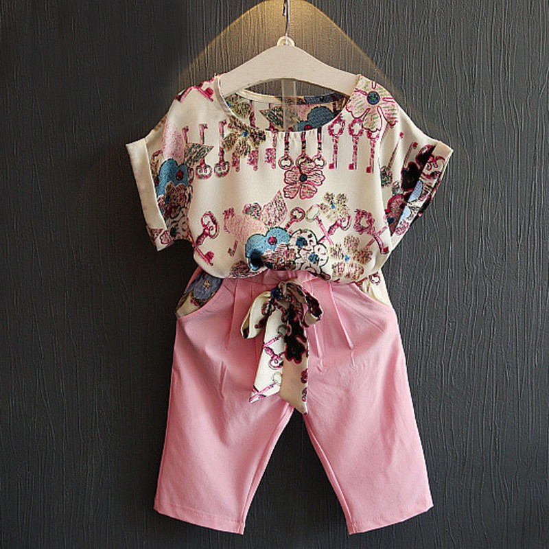 1-6Y Baby Clothes Outfit Summer Kid Girls Short Sleeve Floral T-shirt Tops+ Cropped Pants Children Fashion Suits 2pcs/Set family fashion summer tops 2015 clothers short sleeve t shirt stripe navy style shirt clothes for mother dad and children