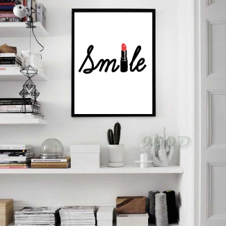 A3 Smile with red lipstick canvas print poster wall picture for home DIY decor