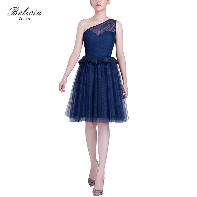 9f22c319104 Belicia Couture Navy Blue Cocktail Dresses Design One Shoulder Sexy Short  Homecoming Dress Elegant Fashion Party
