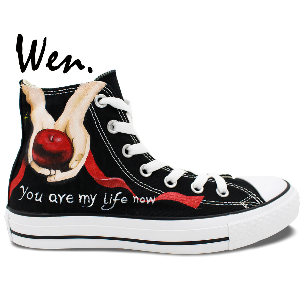 Wen Black Hand Painted Canvas Shoes Design Custom Twilight Apple And Red Feather High Top Sneakers Christmas Gifts