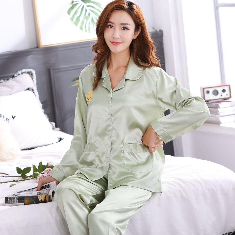 309eb4066 CherLemon Couple Matching Solid Silk Satin Pajama Sets Autumn Full Sleeve  Women Sleepwear Mens Classic Button Up Loungewear-in Men's Pajama Sets from  ...