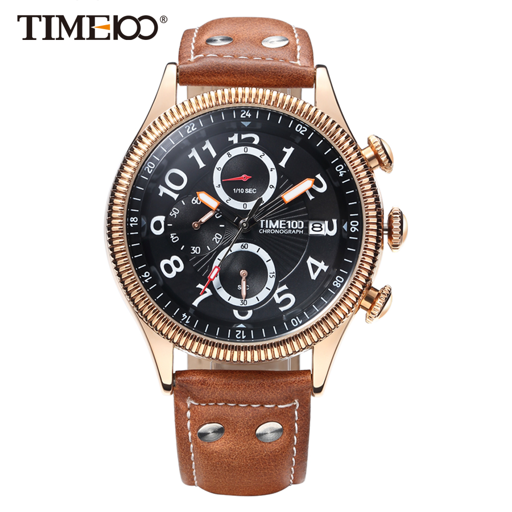 Time100 Watch Men Brown Leather Strap Quartz Watches Calendar Auto Date Business Casual Wrist Watches relogios masculino 4 time100 w40109m