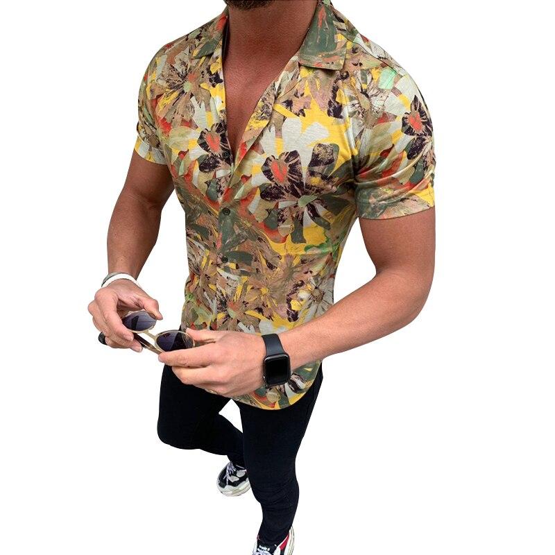 Mens Beach Hawaiian Shirts Print Palm Leaf Summer Short Sleeve Shirt Slim High Quality Male Casual Cotton Button Down Camisa 3XL