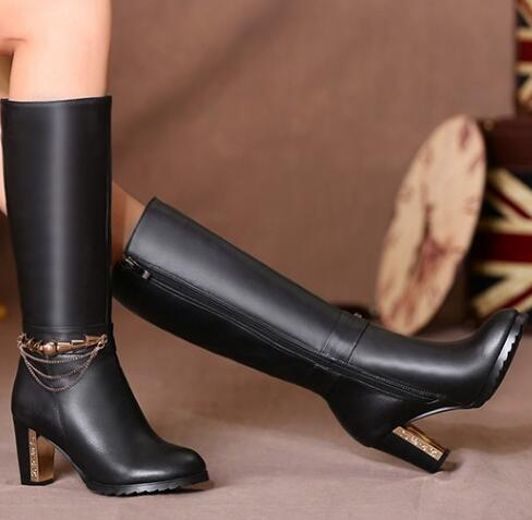 Women Winter Genuine Leather Thick High Heel Side Zipper Round Toe Chains Fashion Mid Calf Boots Plus Size 34-45 SXQ1007 spring black coffee genuine leather boots women sexy shoes western round toe zipper mid calf soft heel 3cm solid size 36 39 38