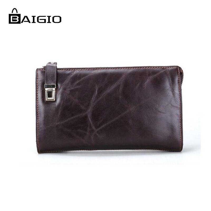 Dark Brown BAIGIO Slim Wallet Leather Secure Minimalist RFID Blocking Credit Card Holder Vintage Thin Card Case for Men and Women