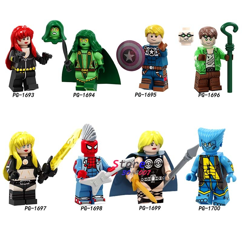 50pcs Black Widow Captain America Gamora Riddler Magik Valkyrie Beast Spider Man building block for children