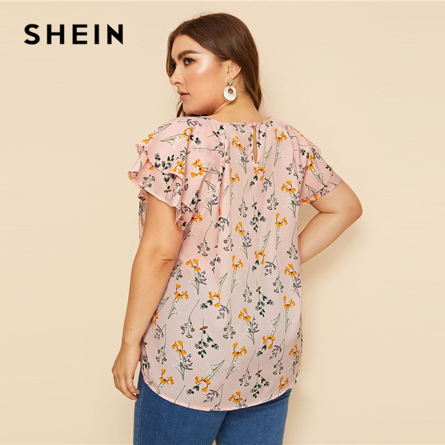 SHEIN Plus Size Choker Neck Layered Ruffle Sleeve Botanical Top Blouse 2019 Women Summer Casual Floral Print Cut Out Blouses 1