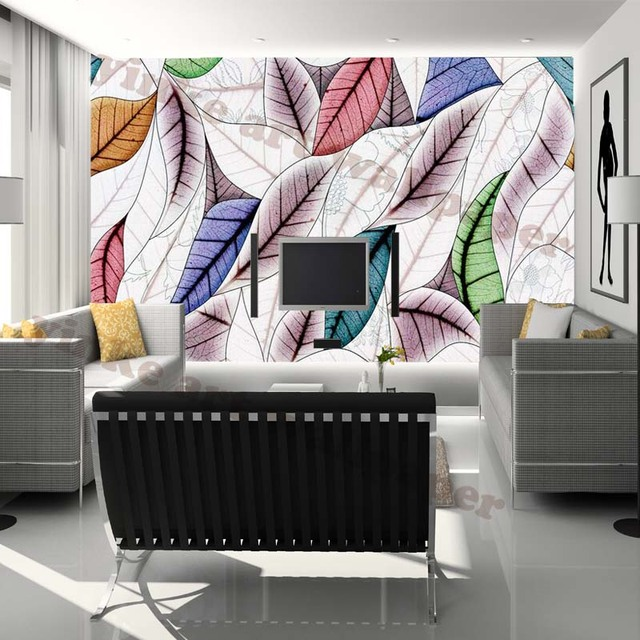 wasserdichte 3d wallpaper graffiti bl tter wohnzimmer selbstklebende tapete moderne tapeten. Black Bedroom Furniture Sets. Home Design Ideas