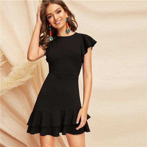 Black VBack Layered Ruffle Hem Flutter Sleeve Summer Party Dress Women Solid Fit Flare A Line Classy Dresses
