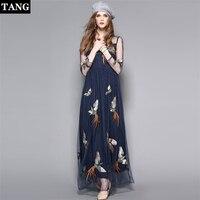 TANG Высокое качество китайский стиль женское платье 2019 летнее Сетчатое вышитое платье с длинными рукавами Vestidos
