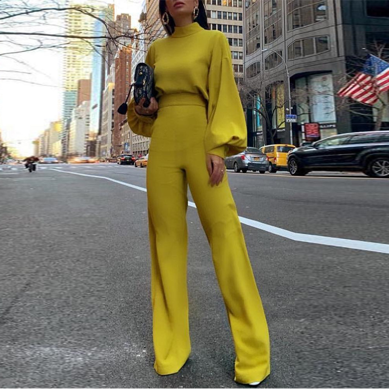 Women Elegant Fashion Slim Fit Yellow Wide Leg Casual Overalls Office Look Work Lantern Sleeve Mock Neck   Jumpsuits