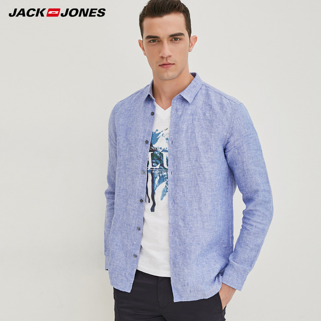Jack & Jones Brand 2019 NEW 100% Linen slim long sleeves male shirts |217105552 1