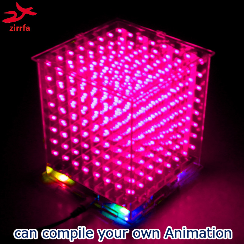 Image 4 - zirrfa New 3D8 mini led cubeeds with excellent animations /3D display 8 8x8x8 ,fun Electronic DIY Kit-in Integrated Circuits from Electronic Components & Supplies