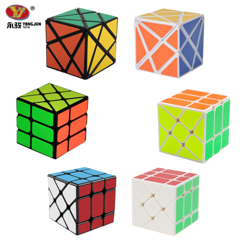 3Pcs/ Set YongJun YJ Magic Cube 3x3x3 Fisher Cube & 2x2x2 Wind Wheel Magic Cube & Fluctuation Angle Axis Cube Puzzle Toy -50 yj guanlong speed third order magic cube toy