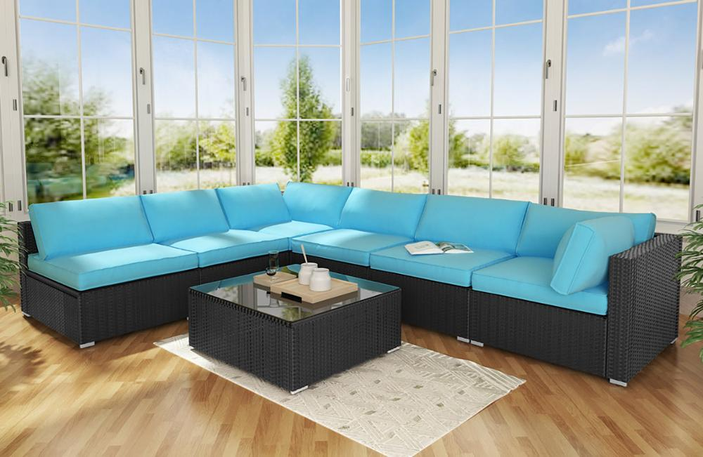 US $739.99  7 Piece Outdoor Patio PE Rattan Wicker Sofa, Large Sectional  Conversation Couch Furniture Set with Coffee Table for Garden Pool-in  Garden ...