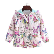 2016 New 2-9T spring&summer girls jackets casual hooded outerwear for girls fashion Hand Painted kids Sunscreen clothing girls