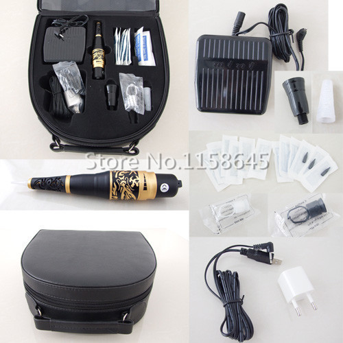 Wholesale Digital New Tattoo Permanent Makeup Kit Durable Hanpiece Pen For Eyebrow Lips + Needles Tips Case Cosmetic Supply #j professional permanent makeup tattoo eyebrow pen machine 50 needles tips power supply set us plug drop shipping wholesale