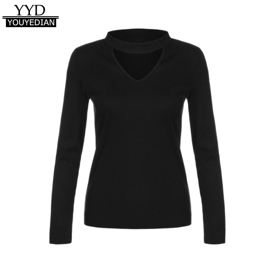 2018 Spring Autumn Choker T-Shirts Women Long Sleeve Black -1396