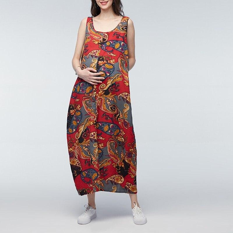 2018 Custom colors Womens Maternity Clothing Print Pregnant Women Loose Sleeveless Collar Pregnant Women Mom Clothes DC41