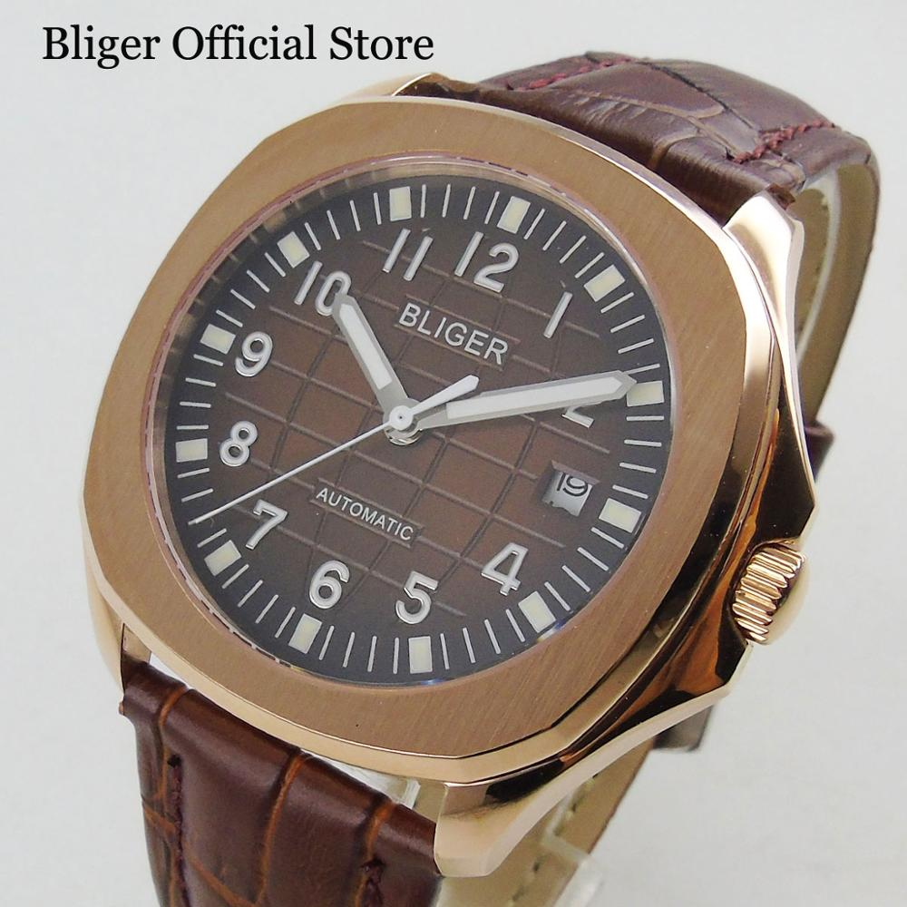 Luxury Automatic Men's Watch Auto Date 39mm Wristwatch Gold Case With Leather Strap
