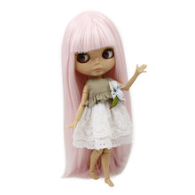 TAN skin tone Blyth nude doll light pink straight soft hair JOINT Azone body 1/6 30cm 280BL1096 fortune days(China)