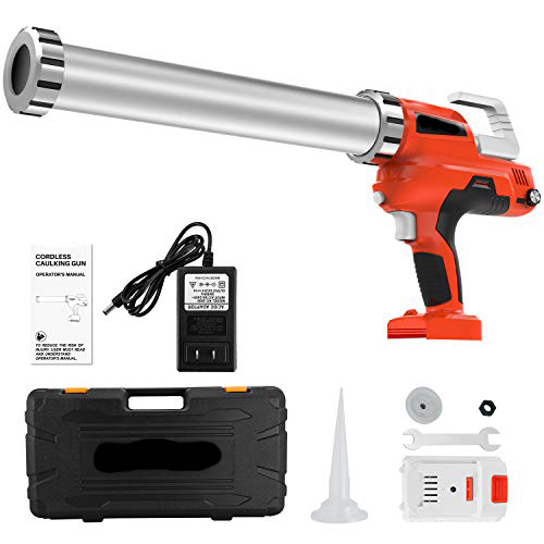 Cordless Multifunctional Lithium Ion Electric Caulking Gun Holds 10 Ounce-20 Ounce/300ml-600ml with 2pcs 20v Lithium Batteries