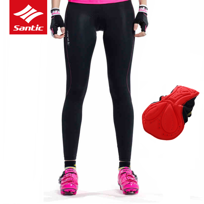 Santic Womens Bike Pants Cycling Tights 4D Padded Bicycle Long Trousers Breathable /& Quick Dry