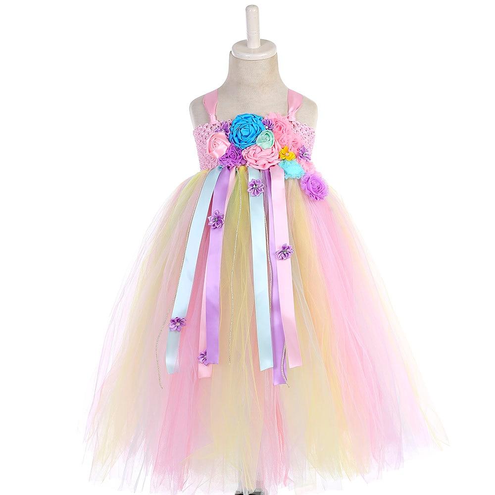Girl Dresses Kids Long Unicorn Costume for Girls Ankle Length Sleeveless Flower Unicorn Party Dress Tutu Little Pony Ball Gown (10)
