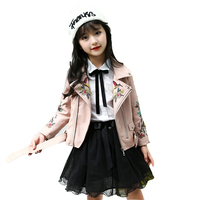 PU Jackets For Girls Clothes Embroidered Flower Birds Coats Spring Autumn Motorcycle Jackets Kids Faux Leather Outerwear 5 13Y