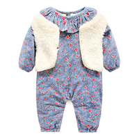 Autumn Winter Romper Velvet And Vest For Baby Newborn Clothes Long Sleeve