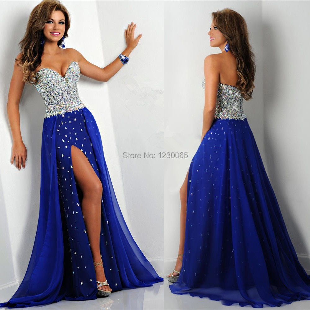 Elegant Sweetheart Crystal Beaded A Line Chiffon Split Formal Vestidos De Festa Long Royal Blue Evening   Prom     Dresses   2016