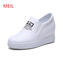 2019 Women Sneakers Casual Sloped with Platform Trainers White Shoes 8CM Heels Wedges Breathable Woman Height Increasing Shoes цена