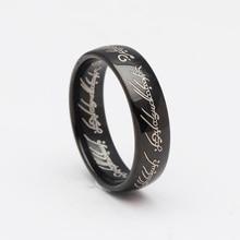 VNFURU Mens Rings Black Gun Color For Men Wedding Engagement Party Jewelry
