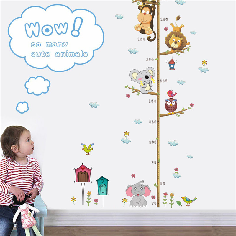 Jungle Animals Lion Monkey Owl Elephant Height Measure Wall Sticker For Kids Rooms Children Growth Chart Home Decor Wall Art
