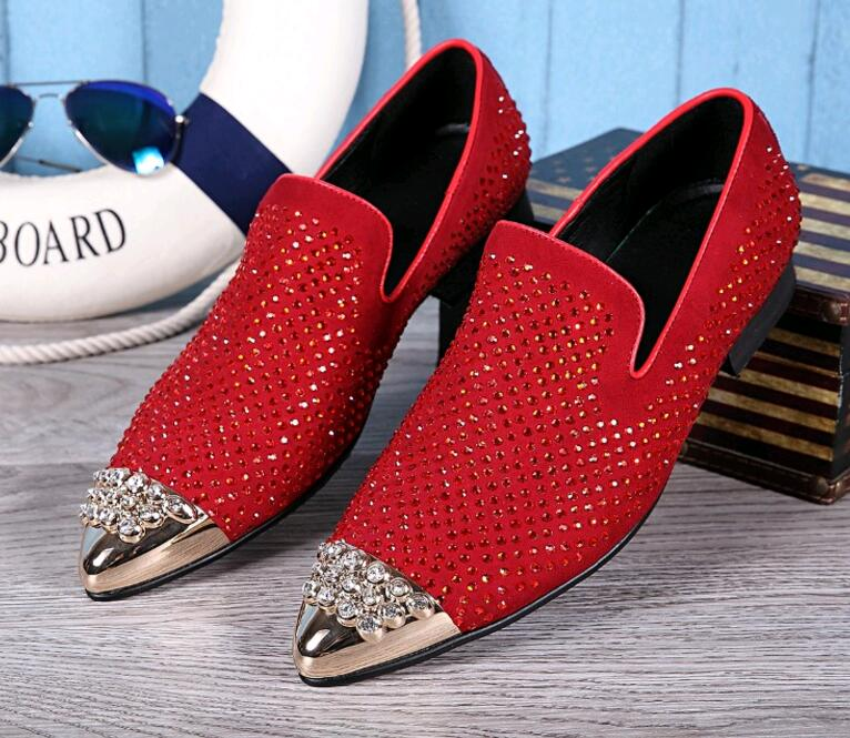 2017 New Rhinestones Men Red Loafers Gold Sequined Pointed Toe Flats Genuine Leather Wedding Dress Shoes In Formal From On