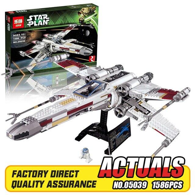 Lepin 05039 1586 unids Genuino Nueva Serie Star El x-wing Rojo Cinco Starfighter Conjunto de Bloques de Construcción Ladrillos juguetes