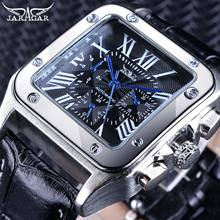 Jaragar Retro Luxury Classic Design Genuine Leather Belt 3 Dial Roman Number Men Automatic Watch Top Brand Mechanical Wristwatch цена в Москве и Питере