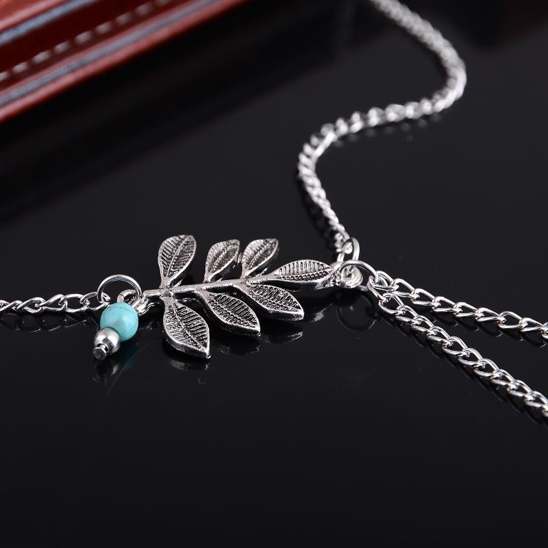 Boho Ethnic Leaves Pendant Anklet Chic Foot Chain Ankle Bracelet Body Jewelry Anklets For Women Sliver Plated Foot Jewelry