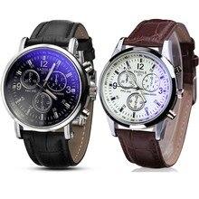 Tempo zero #501 2019 Nova moda Relógios de Pulso 2 PC Faux Leather Mens Blue Ray Vidro de Quartzo Analógico Relógios de Luxo Livre grátis