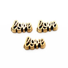 New Arrival 10pcs/lot golden Love floating charms Alloy charms living glass memory lockets diy Accessory jewelry(China)