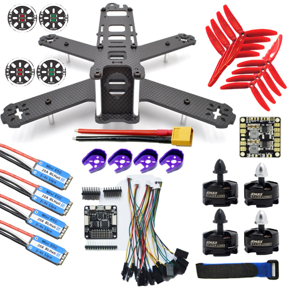 QAV210 Quadcopter Frame Kit F3 Acro Flight Controller 20A ESC BLHeli_S+MT2204 2300KV Brushless Motor 5040 Propeller DIY carbon fiber diy mini drone 220mm quadcopter frame for qav r 220 f3 flight controller lhi dx2205 2300kv motor