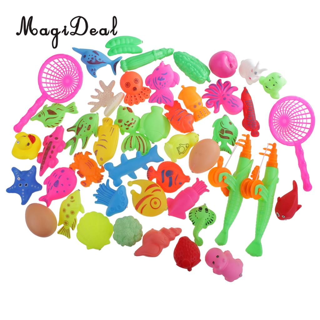 MagiDeal 1set Fish Model Baby Magnetic Fishing Bath Bathroom Summer Water Toy for Beach Swimming Pool Kid Pretend Play 3Kinds