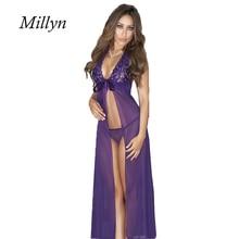 Lace Transparent Long Robes Sexy lingerie long dress 88 Underwear Elegant Women Temptation Lingerie