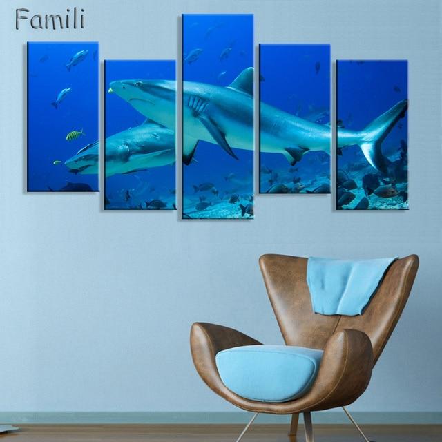 Modern simple 5 piece canvas art no frame wall art big shark ...