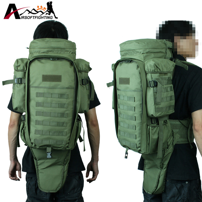Molle Extended Full Gear Dual Rifle Backpack Tactical Military Hunting Wargame Gun Bag Case gun protector case backpack tactical handgun pistol carry bag wargame sports military hunting camping bag pouch backpack