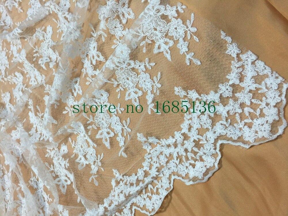 Φ_Φ120 cm ancho blanco africano Lentejuelas Encaje para la boda ...